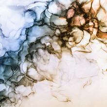 Alcohol Ink Waves Background In Subtle Tones Of Blue, Brown And Orange
