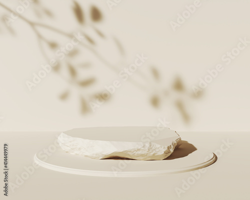Fototapeta abstract geometric Stone and Rock shape background, minimalist mockup for podium display or showcase obraz