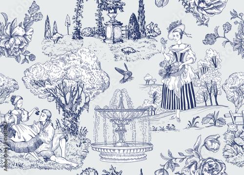 Tapety Barokowe  wektor-wzor-toile-de-jouy-tapeta-z-francuskiej-prowansji-jasnym-tle-przyrody-cyfrowy-papier-w-stylu-prowansalskim-wektor-wzor-decoupage-wektor-wzor-eleganckie-zycie-milosc-ludzie