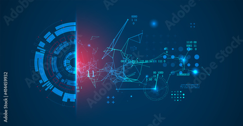 Abstract background on technological and scientific topics. Plexus effect with various techno details with a place under the text. Vector format.
