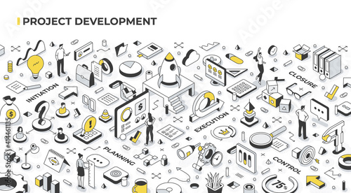 Obraz Project management and development concept. People launch startups, set goals, organize and coordinate resources, accomplish objectives. Agile management and business success. Isometric illustration - fototapety do salonu