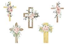 Watercolor Flower Cross, Wood Cross, Baptism, Floral Clipart, First Communion, Holy Spirit, Florals Arrangements, Easter Cross