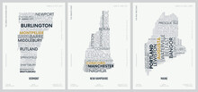 Typography Composition Of City Names, Silhouettes Maps Of The States Of America, Vector Detailed Posters, Division New England - Vermont, New Hampshire, Maine - Set 1 Of 17