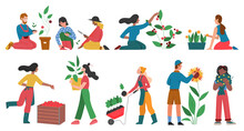 Gardeners People Cultivate Horticulture Plants Vector Illustration Set. Cartoon Man Woman Characters Gardening Harvesting Planting, Growing Flowers Vegetables Or Fruits In Garden Isolated On White
