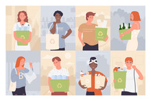 People With Recycle Bin Vector Illustration Set. Cartoon Young Man Woman Characters Holding Garbage Waste Bin With Recycling Sign, Boxes With Sorted Glass Plastic Paper Trash Background Collection
