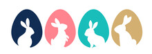Happy Easter, Bunnies, Flowers And Eggs. Folk Style Design