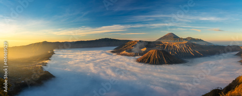 Bromo volcano mountai n at sunrise in East Java, Indonesia surrounded by morning fog Fototapet