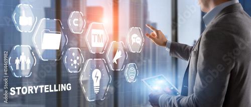 Obraz Storytelling. Story Telling Business Technology concept 2021 - fototapety do salonu