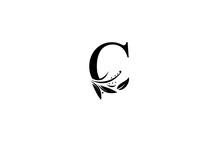 Monogram Flourishes Letter C Logo Manual Elegant Minimalism Sign Vector