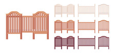 Baby And Toddler Wooden Cot Bed Set. Nursery Home Small Furniture For Young Child, Infant Safe Cradle. Vector Flat Style Cartoon Illustration Isolated On White Background, Different Colors, Views