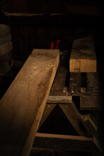 Process Of Sawing And Wooden Materials Of Carpentry - Hand Making An Oak Table From Scratch