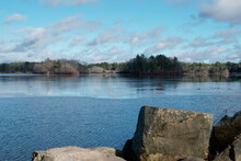 Winter Scenery Of Leach Pond In Borderland State Park MA USA