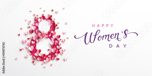 Billede på lærred Women's Day greeting card or banner with pink cut eight number and flying paper hearts