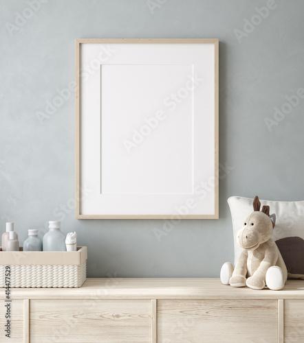 Mockup poster frame close up in nursery, 3d render