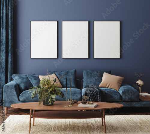 Home interior mock-up with blue sofa, table and decor in living room, 3d render