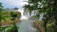 Argentina, Iguazu Falls Stretch For 2.7 Km And Include Hundreds Of Other Waterfalls. All Around The Falls Is The Iguazú National Park, A Subtropical Rainforest Full Of Wildlife