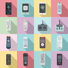 Remote Control Icons Set. Flat Set Of Remote Control Vector Icons For Web Design