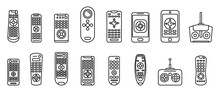 Hand Remote Control Icons Set. Outline Set Of Hand Remote Control Vector Icons For Web Design Isolated On White Background