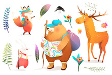Animals Adventure For Kids Collection Of Illustrated Forest Scout Characters Hiking. Bear, Fox, Deer Or Elk And Rabbit Cute Cartoons For Children Isolated On White. Vector In Watercolor Style.