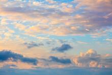 Gentle Colors Of Sundown Sunset  Sky With Beautiful Light Clouds