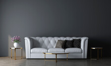Modern Mock Up Decor Interior Design Of Luxury Cozy Living Room And Empty Blue Wall Texture Background, 3d Rendering
