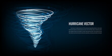 Hurricane Vector Symbol Icon On Dark Blue Background. Tornado Swirl Isolated. Weather Icon Concept Natural Disaster Tornado, Cyclone, Hurricane. Vector Illustration.