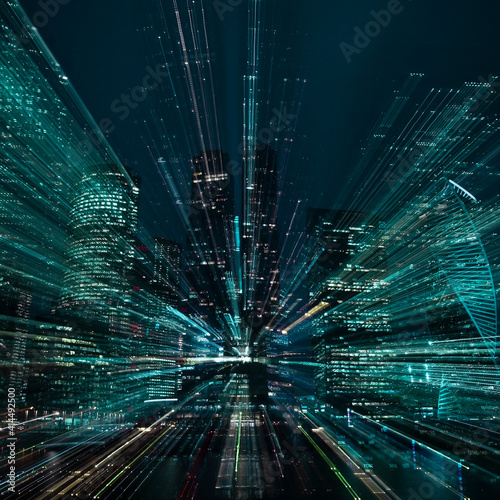 Hi-tech abstract green background. Cityscape of skyscrapers of Moscow City Zooming. . High quality photo Wall mural