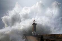 Megablaster - 14m Wave Crashing Into Lighthouse In Porto, Portugal