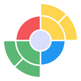 A flat pie chart icon in editable design