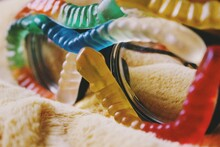 Glasses Covered With Gummy Worms, Abstract Sweet Photograph