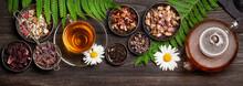 Various Herbal Tea, Teapot And Cup