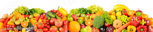 Wide panoramic composition of ripe, juicy fruits and vegetables isolated on white © Serghei Velusceac