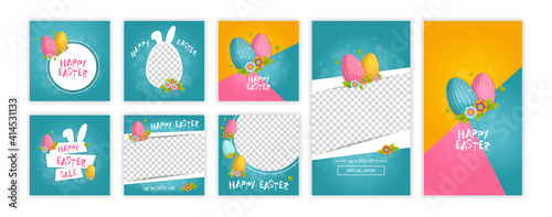 Happy easter trendy template for social networks stories and posts. Web online shopping banner concept