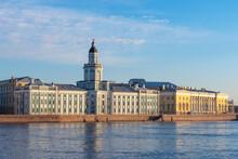 Museums Saint Petersburg. Russia In Sunny Weather. City Landscape Of Petersburg. Kuntskamera On A Blue Sky Background. Kuntskamera On A Summer Day. Panorama Of Summer Saint Petersburg. Russia Travel