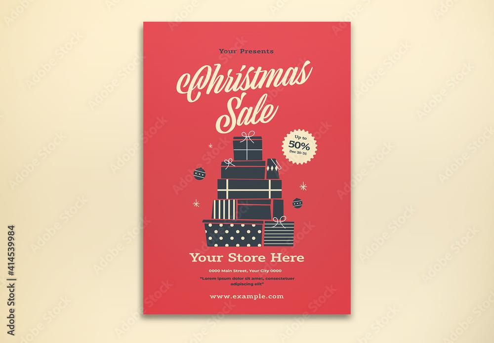 Fototapeta Christmas Sale Flyer Layout