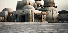 Background Of An Outer Rim Desert Science Fiction Outpost With Buildings And Structures .3d Rendering