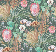 Delicate Watercolor Seamless Pattern With Tropical Dried Flowers And Palm And Monstera Leaves On A Green Background For Textiles And Surface Design