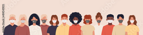 Group of people with different nationalities wearing medical masks to prevent disease, flu, air pollution, contaminated air, world pollution. Illustration in a flat style - fototapety na wymiar