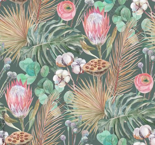 Tapety Tropikalne  delikatny-akwarelowy-bezszwowy-wzor-z-tropikalnymi-suszonymi-kwiatami-i-liscmi-palmy-i-monstery-na-zielonym-tle-do-tekstyliow-i-projektowania-powierzchni