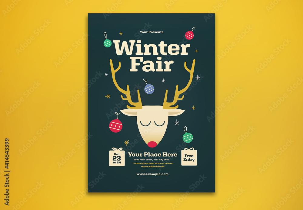 Fototapeta Winter Fair Flyer Layout
