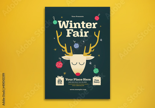 Fototapeta Winter Fair Flyer Layout obraz