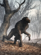 The Michigan Dogman, An Americanwerewolf-like Cryptid, Prowls The Wilderness Of Northern Michigan. The Creature Was First Reported In1887 And Has Been Sighted Throughout The Years. 3D Rendering.