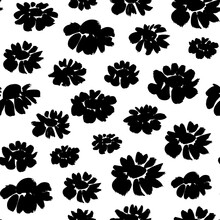 Brush Flower Vector Seamless Pattern. Hand Drawn Botanical Ink Illustration With Floral Motif. Chamomile Or Daisy Painted By Brush. Hand Drawn Black Print For Fabric, Wrapping Paper, Wallpaper Design