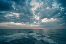 Ocean Dramatic Seascape Panorama In Cloudy Day, Endless Sea View Till Horizon.