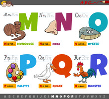 Educational Cartoon Alphabet Letters For Kids From M To R