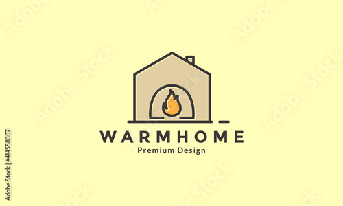 Canvas Print Fireplace with wood line home logo design vector icon symbol illustration