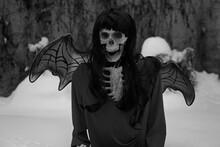 Devil Bride Skeleton With Red Dress And Devil Wings