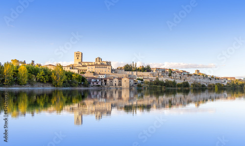 view of the medieval city of Zamora, Spain - Douro River.