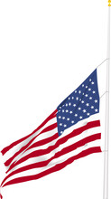 Flag Flying At Half Mast And Waving In The Breeze On White Background As Vector