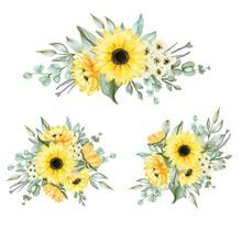 Sunflower Bouquet Arrangement For Wedding Watercolor Illustration